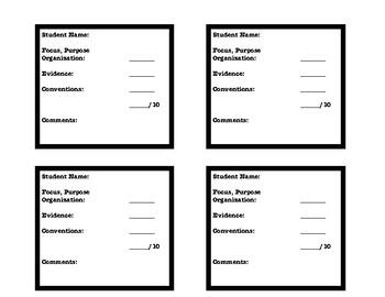 3rd grade Informational Writing Rubric