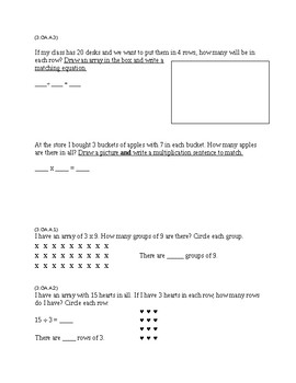 3rd grade Math Review Sheet (common core)