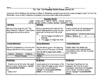 3rd grade Journey's Choice Boards Lessons 21-25