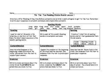3rd grade Journey's Choice Boards Lessons 1-5
