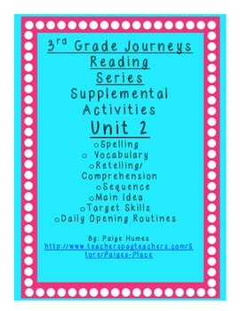 3rd grade Journeys Reading Series Supplemental Activity Pack Unit 2