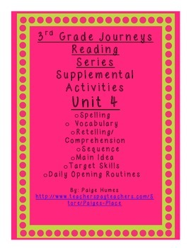 3rd grade Journeys Reading Series Supplemental Activity Pack Unit 4