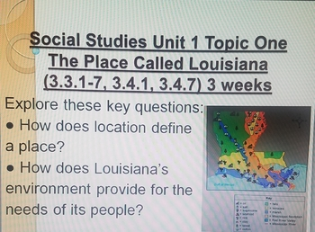 3rd grade Louisiana Social Studies Unit 1-5 Key Question Cards