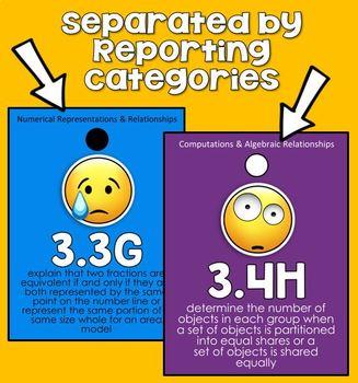 3rd grade MATH TEKS Brag Tags - Emojis