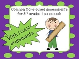 3rd grade Math Common Core 1 Pg Assessments for EACH stand