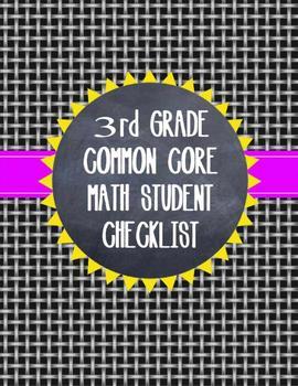 "Math Common Core ""I can"" 3rd grade standards student checklist"