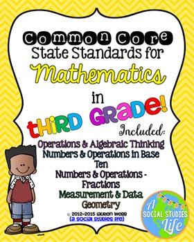 3rd grade Math Common Core Standards Posters BUNDLE
