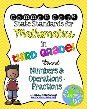 3rd grade Math Common Core Standards Posters Numbers & Operations - Fractions