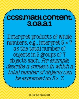 3rd grade Math Common Core Standards Posters Operations and Algebraic Thinking
