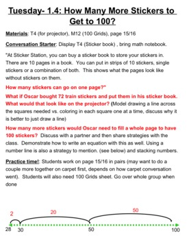 3rd grade Math Investigaitons Unit 1 1.4, 1.5, 1.6, 1.7