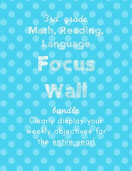 3rd grade Math, Reading, Writing Objectives Focus wall BUNDLE