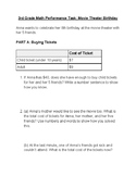 3rd grade Math SBAC Performance Task: Movie Theater Birthday