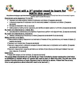 3rd grade Math Standards