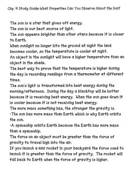3rd grade NG Earth Science - Properties of the Sun (Ch 4) Study Guide Review PDF