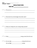3rd grade NG Earth Science - Properties of the Sun (Ch4) Study Guide Review word