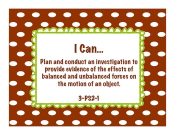 """3rd grade Next Generation Science """"I Can"""" Statements"""