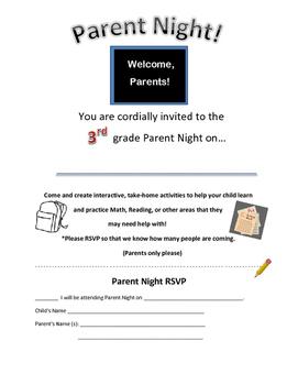 3rd grade Parent Letter/ Invitation for Parent Night/ Workshop