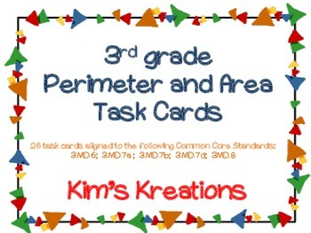 3rd grade Perimeter and Area Task Cards (CC aligned)