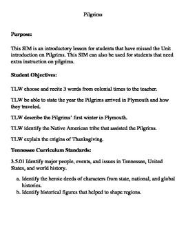 3rd grade Pilgrim Self-Instructional Module