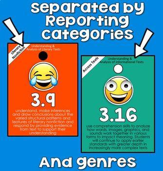 3rd grade READING TEKS Brag Tags - Emojis