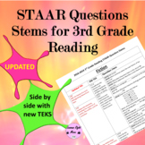 3rd grade Reading STAAR questions stems by teks 2016-2018