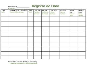 3rd grade Reading log Bilingual (English/Spanish