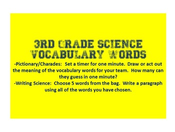 3rd grade Science Vocabulary Cards