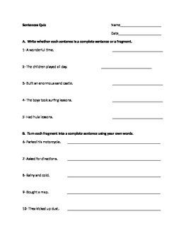 3rd grade Sentences Quiz