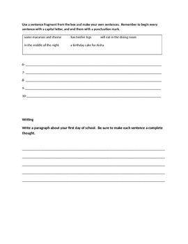 3rd grade Sentences packet including quiz