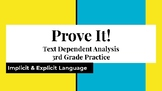3rd grade TDA Text Dependent Analysis Lesson