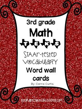 3rd grade TEKS Math STAAR tested vocabulary word wall cards