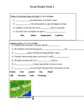 3rd grade TX Social Studies Weekly 2: Changes