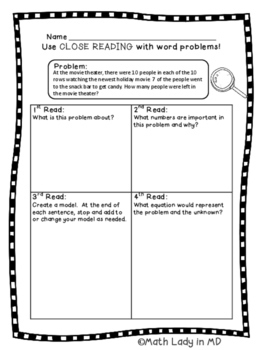 3rd grade Thanksgiving Math Two Step Word Problems - Close Reading!