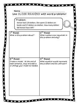 3rd grade Two Step Word Problems SET 2- Close Reading! 2nd, 3rd, 4th Grades