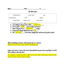3rd grade Water Cycle Quiz
