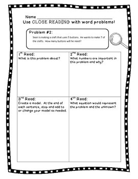 3rd grade Word Problems - Close Reading! 2nd, 3rd, 4th & Homeschool