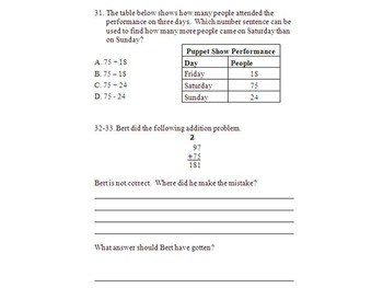 3rd Grade Addition and Subtraction test: Quarter 1 (3.NBT.A.2)