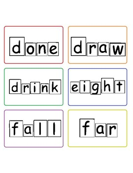 3rd grade dolch sight words with word shape outlines