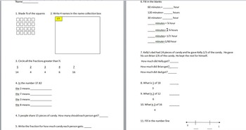 3rd grade fractions quiz. Can be used in 4th too