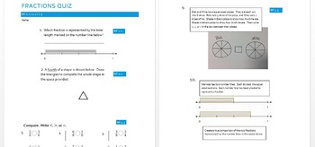 3rd grade fractions quiz NF.1.1 NF.1.2 NF.1.3