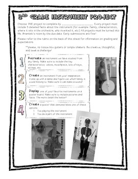 3rd grade instrument project with rubric