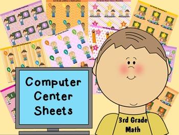 3rd grade math Computer Center Sheets