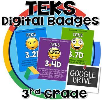3rd grade math TEKS - Digital Badges for Google Drive
