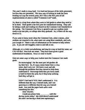 3rd grade math common core parent newsletter