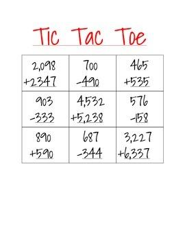 3rd grade math games tic-tac-toe