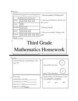3rd grade math homework Q3 weeks 1-9 bundle