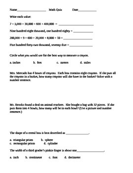 3rd grade measurement and review test