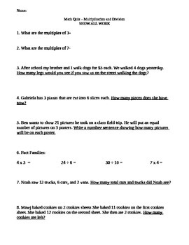 3rd grade multiplication and division test