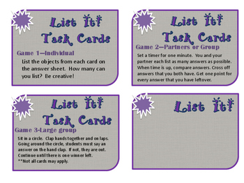 3rd grade science List It Task Cards