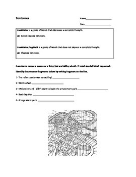 3rd grade Sentences and Fragments worksheet